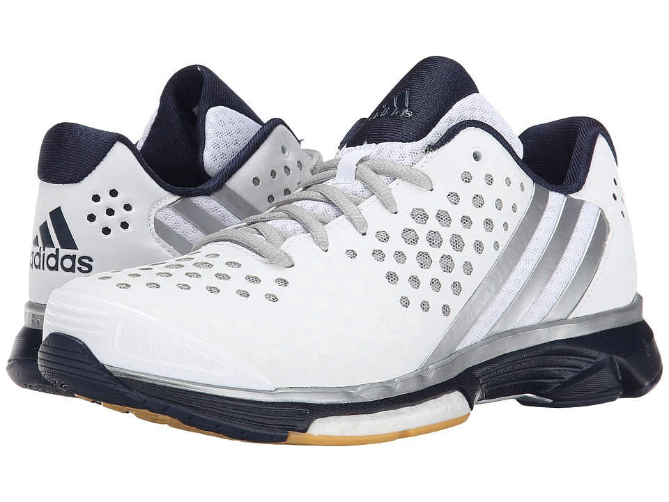 adidas - Volley Response Boost (White/Silver Metallic/Collegiate Navy) Women's Volleyball Shoes