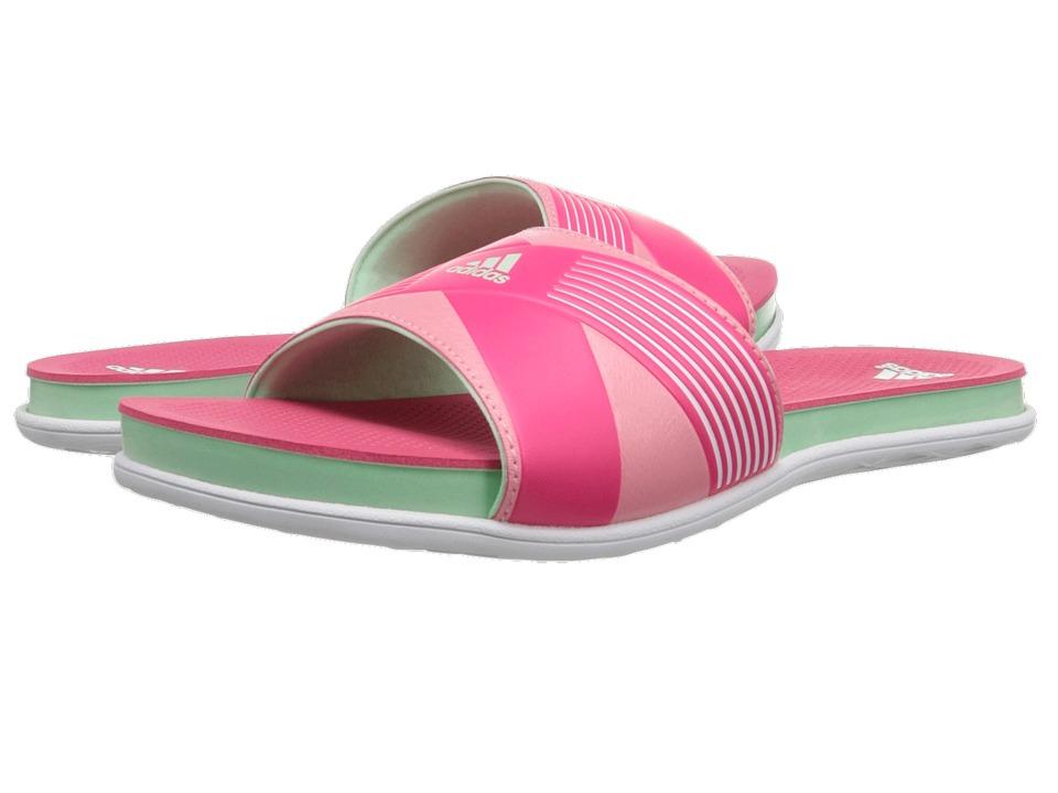 adidas - Supercloud Plus Slide (White/Frozen Green/Super Pink) Women's Slide Shoes