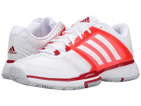 adidas - Barricade Team 4 (White/Solar Red) Women's Shoes