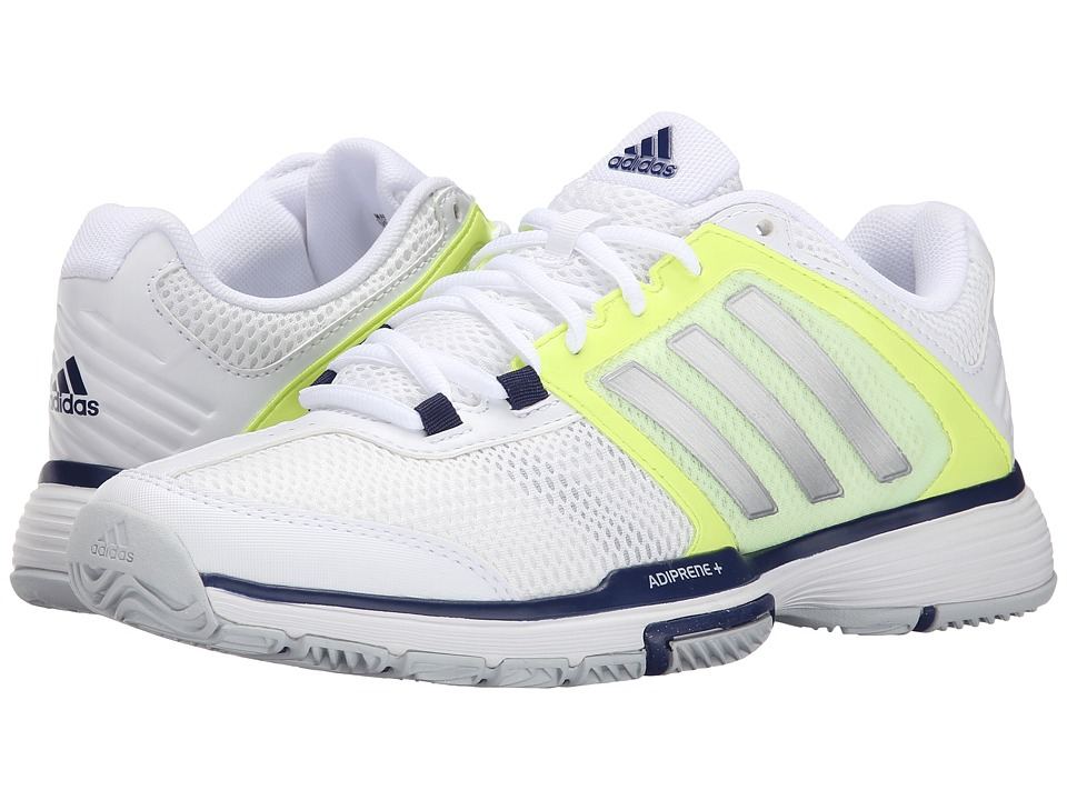 adidas - Barricade Team 4 (White/Frozen Yellow/Midnight Indigo) Women's Shoes