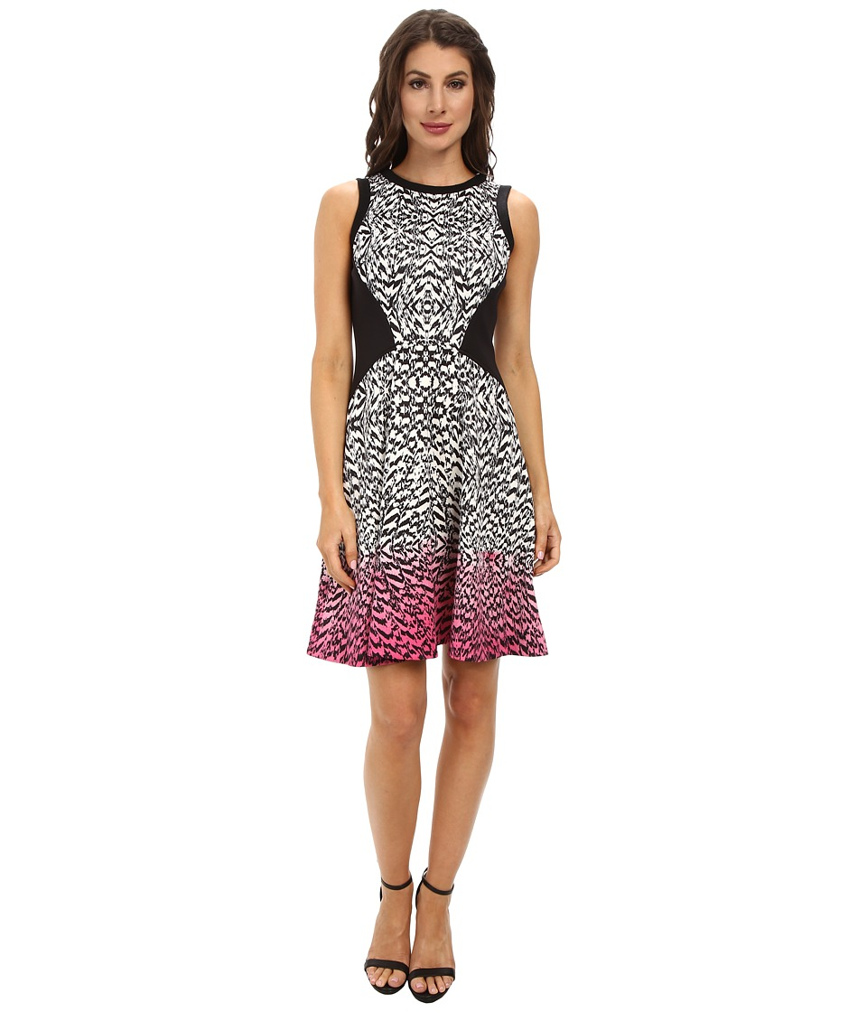 Maggy London - Brushed Animal Printed Scuba Fit Flare Dress (Soft White/Berry Rose) Women's Dress