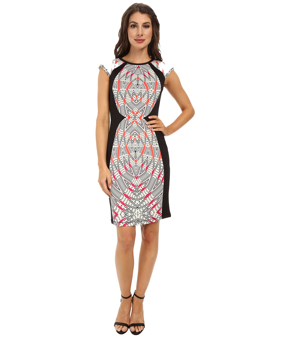 Maggy London - Mirror Tribal Shield Printed Scuba Sheath (Guava/Berry) Women's Dress