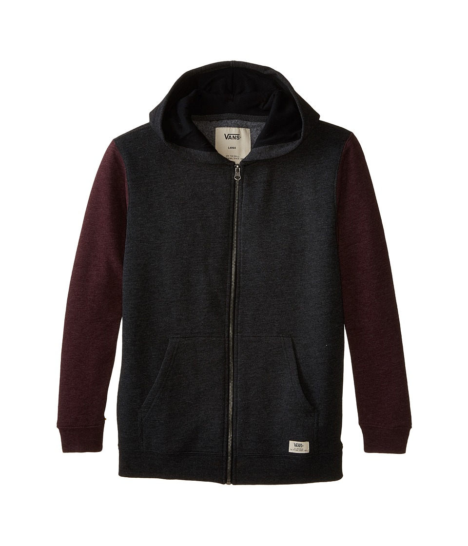 Vans Kids - Core Basics Colorblock Zip Hoodie (Big Kids) (Black Heather/Port Heather) Boy's Sweatshirt