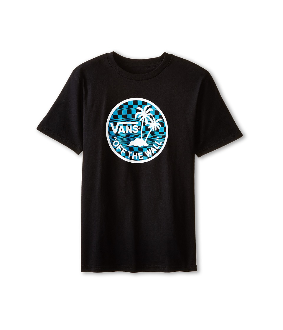 Vans Kids - Dual Palm Logo Fill T-Shirt (Big Kids) (Black/Turquoise Glitchy Checker) Boy