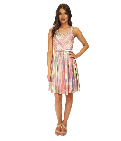 Calvin Klein - Fit Flare Dress w/ Belt at Waist (Peach Multi) Women