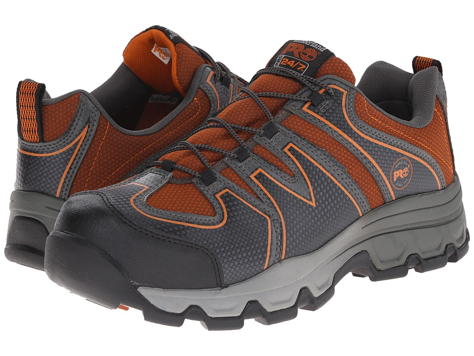 Timberland PRO - Rockscape Low Steel Safety Toe (Grey Synthetic/Orange Pops) Men's Lace-up Boots