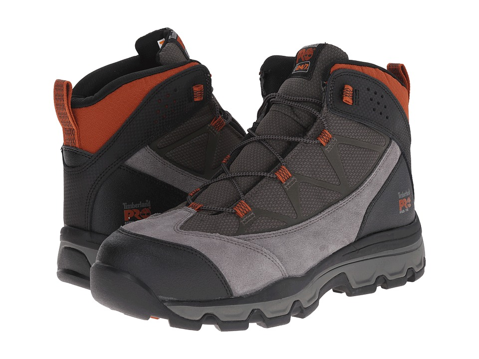 Timberland PRO - Rockscape Mid Steel Safety Toe (Grey Suede/Orange Pops) Men's Lace-up Boots
