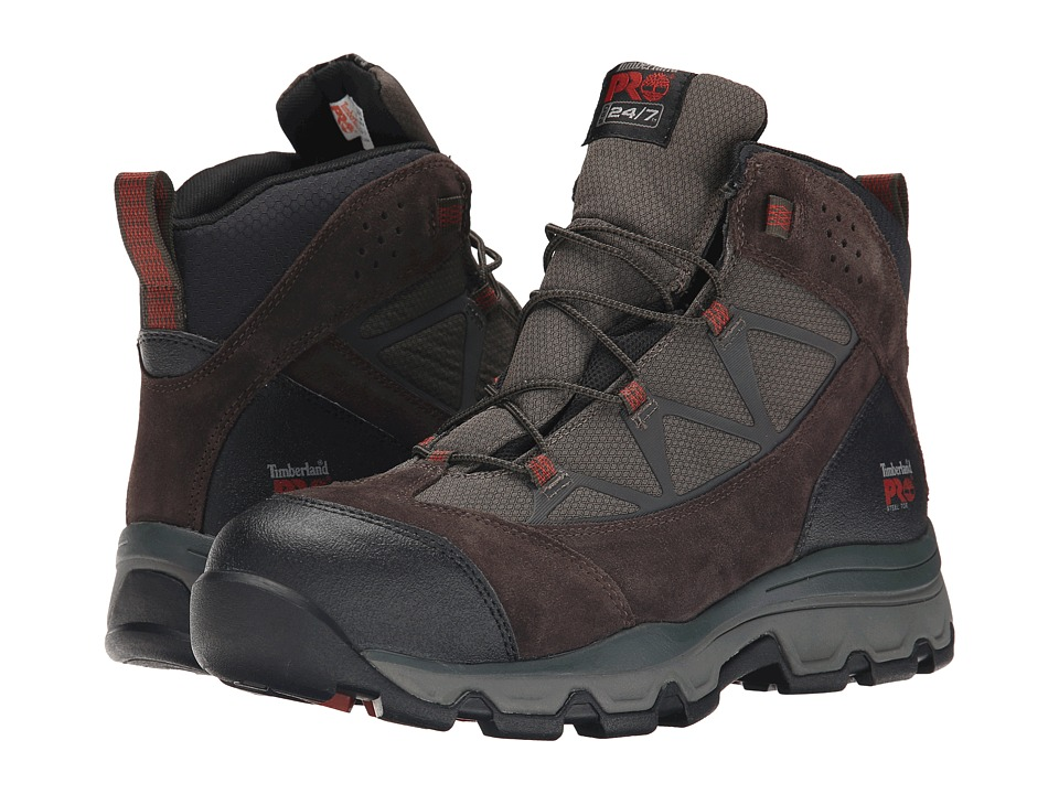 Timberland PRO - Rockscape Mid Steel Safety Toe (Brown Suede/Red Pops) Men's Lace-up Boots