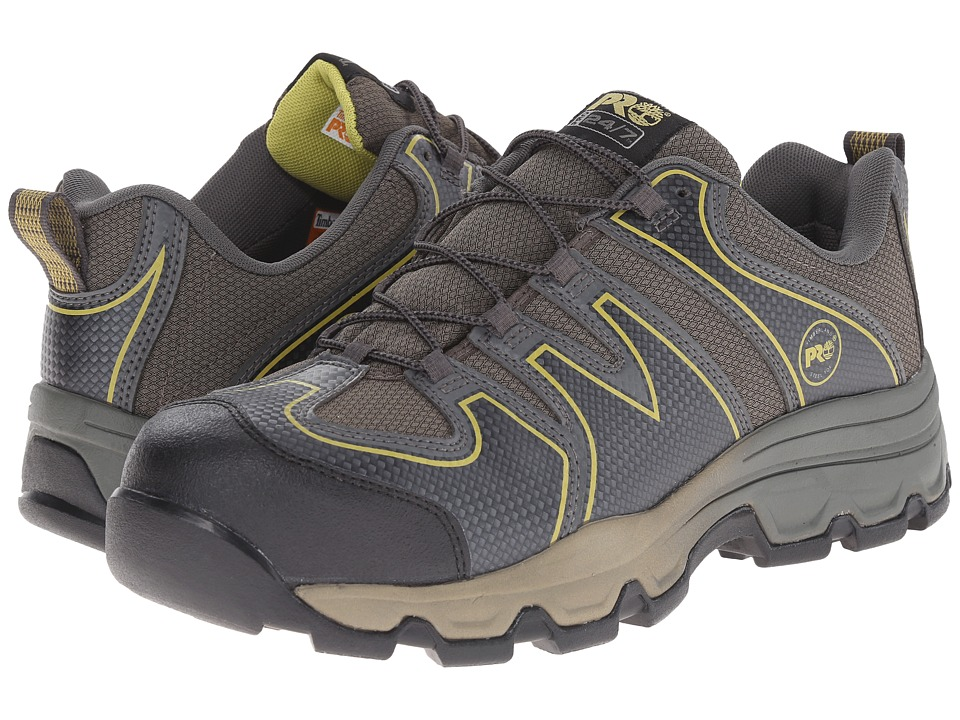 Timberland PRO - Rockscape Low Steel Safety Toe (Grey Synthetic/Yellow Pops) Men's Lace-up Boots