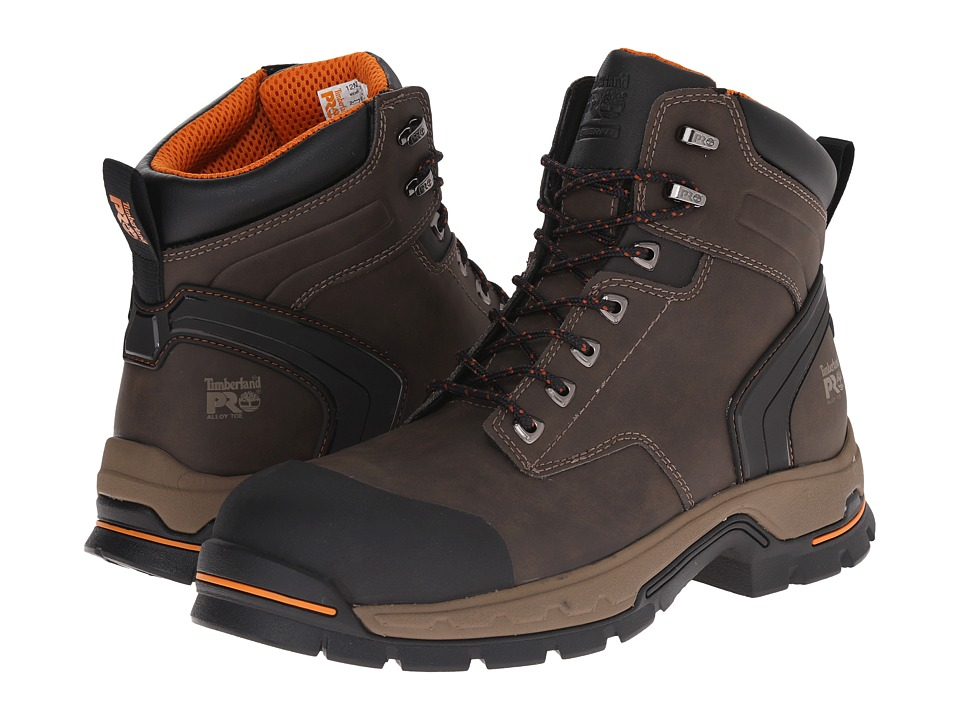 Timberland PRO 6 Stockdale Alloy Safety Toe (Dark Brown Microfiber) Men