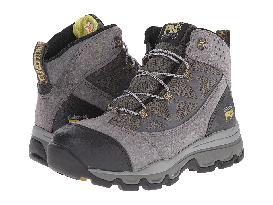Timberland PRO - Rockscape Mid Steel Safety Toe (Grey Suede/Yellow Pops) Women's Lace-up Boots