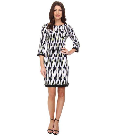 Calvin Klein - Printed Jersey Sheath w/ 3/4 Sleeve (Iris Multi) Women's Dress