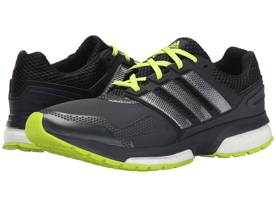 adidas Running - Response Boost 2 Techfit (Dark Grey/Black/Solar Yellow) Men's Running Shoes