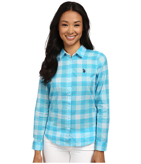 U.S. POLO ASSN. - Poplin Plaid Shirt (Surf Blue) Women's Clothing