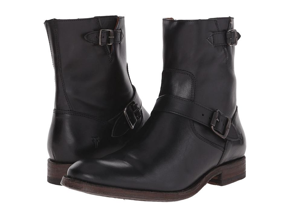Frye - Jacob Engineer (Black Antiqued Full Grain) Cowboy Boots
