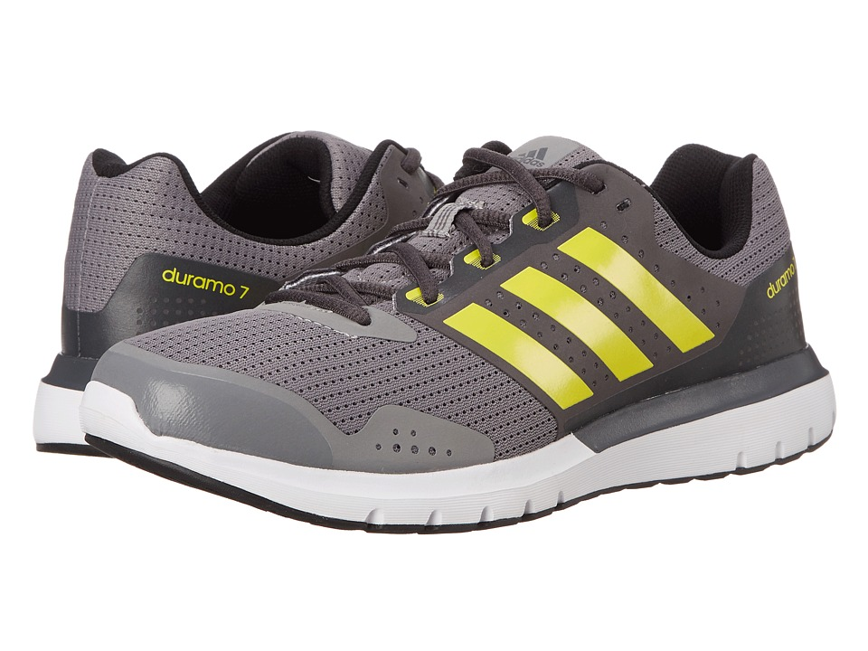 adidas Running - Duramo 7 (Charcoal Solid Grey/Bright Yellow/Dark Grey Heather Solid Grey) Men's Running Shoes