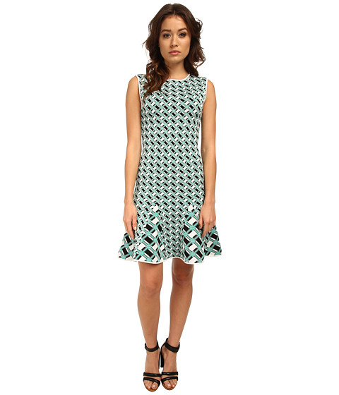 ZAC Zac Posen - ZP-35-8065-20 (Lagoon/Black/White) Women's Dress