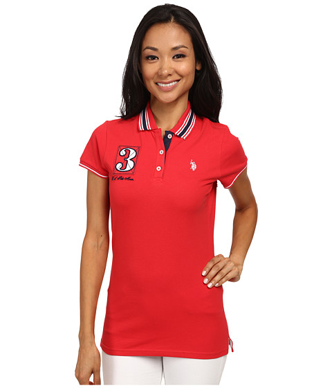 U.S. POLO ASSN. - Flag Polo (Lollipop) Women's Short Sleeve Knit
