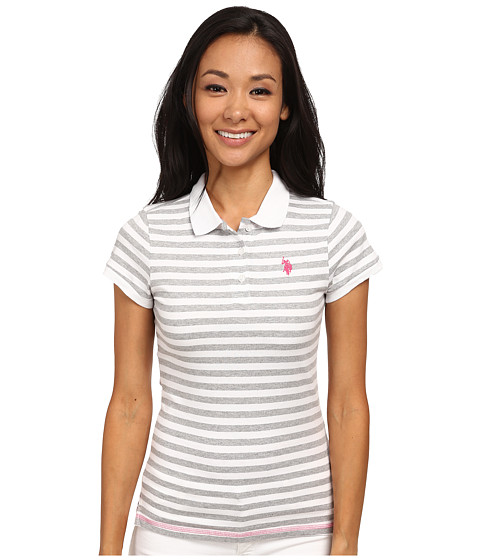 U.S. POLO ASSN. - Tonal Stripe Slub V-Neck T-Shirt (Heather Gray) Women's Short Sleeve Pullover