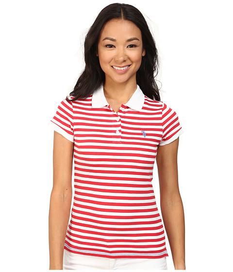 U.S. POLO ASSN. - Tonal Stripe Slub V-Neck T-Shirt (Lollipop) Women's Short Sleeve Pullover