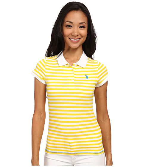 U.S. POLO ASSN. - Tonal Stripe Slub V-Neck T-Shirt (Sailing Yellow) Women's Short Sleeve Pullover