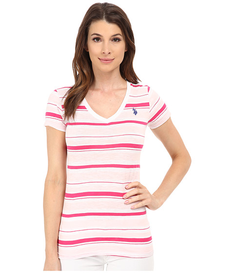 U.S. POLO ASSN. - Striped Slub V-Neck T-Shirt (Coastal Pink) Women's T Shirt