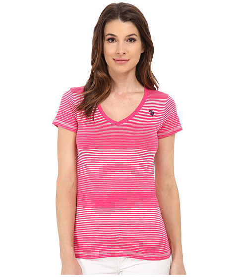 U.S. POLO ASSN. - Cotton Slub V-Neck T-Shirt (Pink Paradise) Women