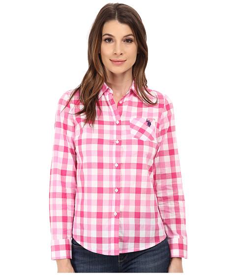 U.S. POLO ASSN. - Plaid Shirt (Pink Paradise) Women's Long Sleeve Button Up