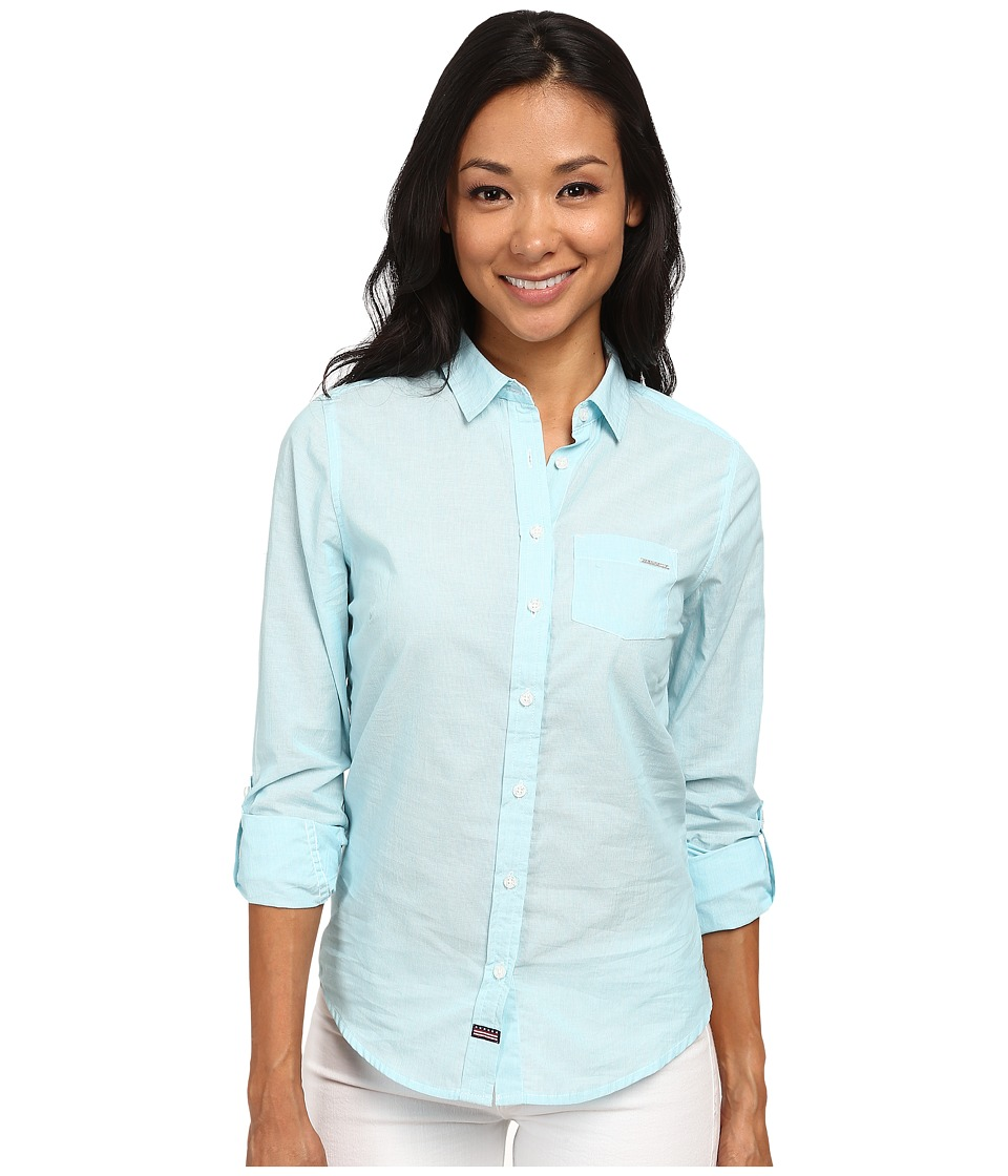 U.S. POLO ASSN. - Striped Shirt (Scuba Blue) Women's Long Sleeve Button Up