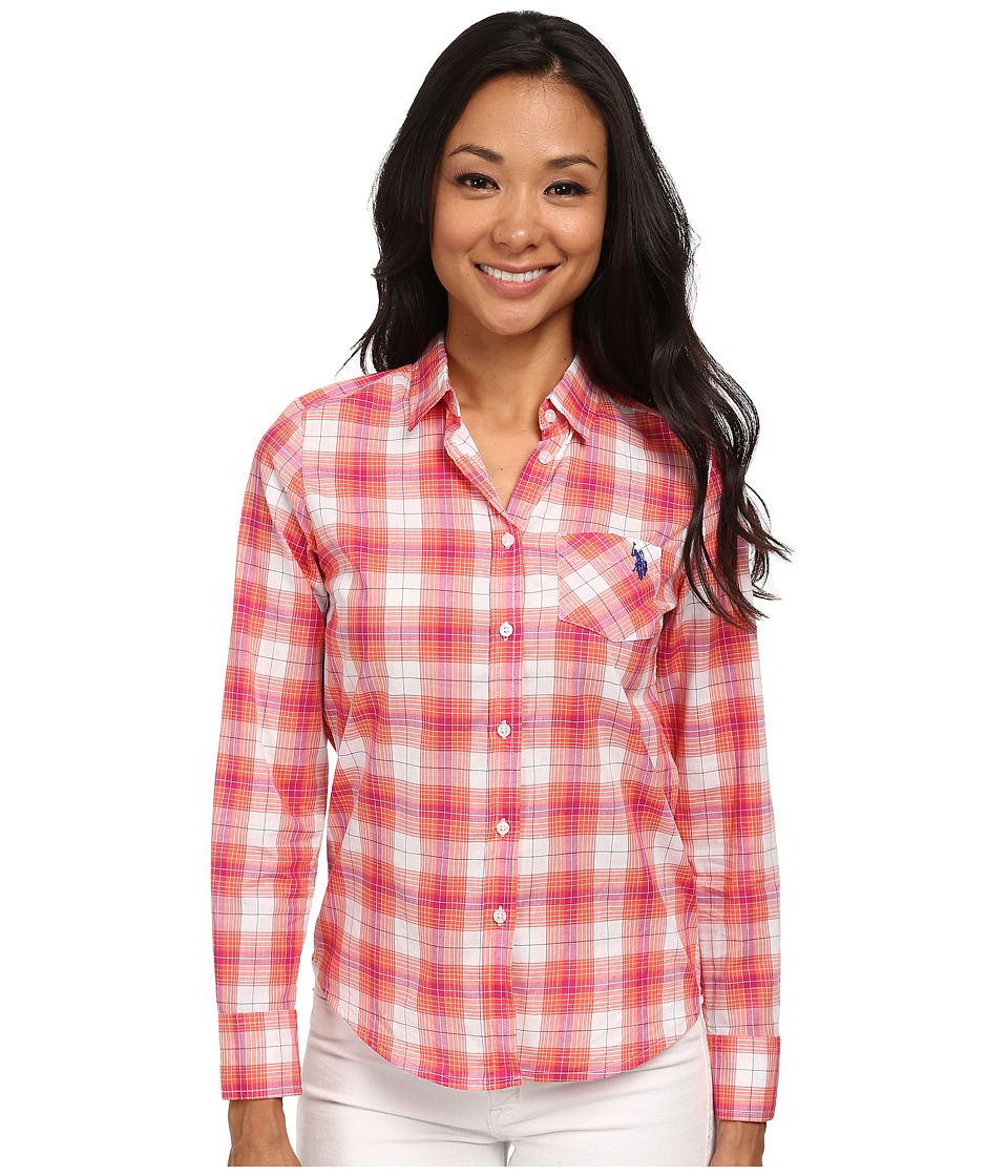 U.S. POLO ASSN. - Plaid Poplin Shirt (Hot Coral) Women