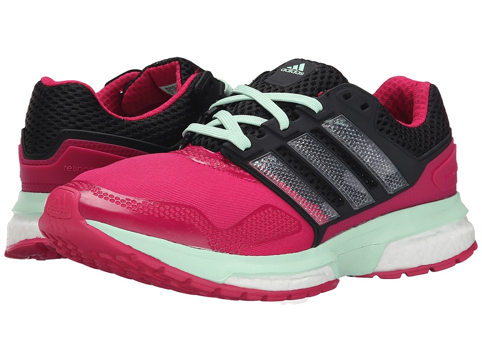 adidas Running - Response Boost 2 Techfit (Bold Pink/Black/Frozen Green) Women's Running Shoes