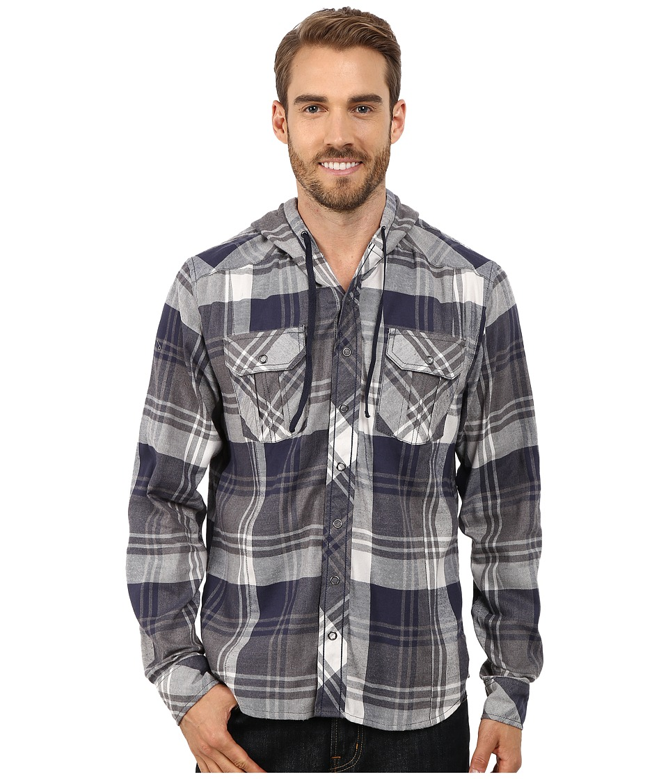 Ecoths - Axel Hoodie (Dress Blues) Men's Long Sleeve Button Up