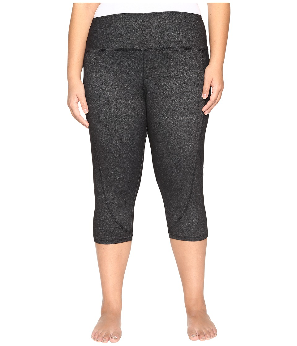 Marika Curves - Plus Size Slimming High Rise Capri Leggings (Heather Black) Women's Workout