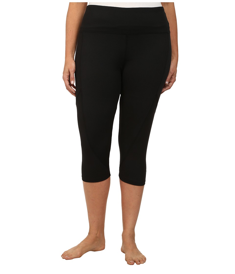 Marika Curves - Plus Size Slimming High Rise Capri Leggings (Black) Women's Workout