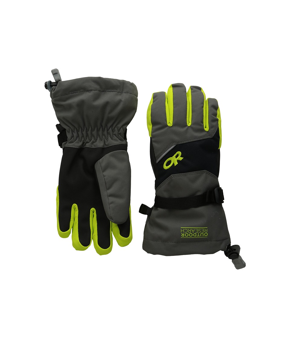 Outdoor Research - Adrenaline Gloves (Little Kid/Big Kid) (Charcoal/Black/Lemongrass) Extreme Cold Weather Gloves