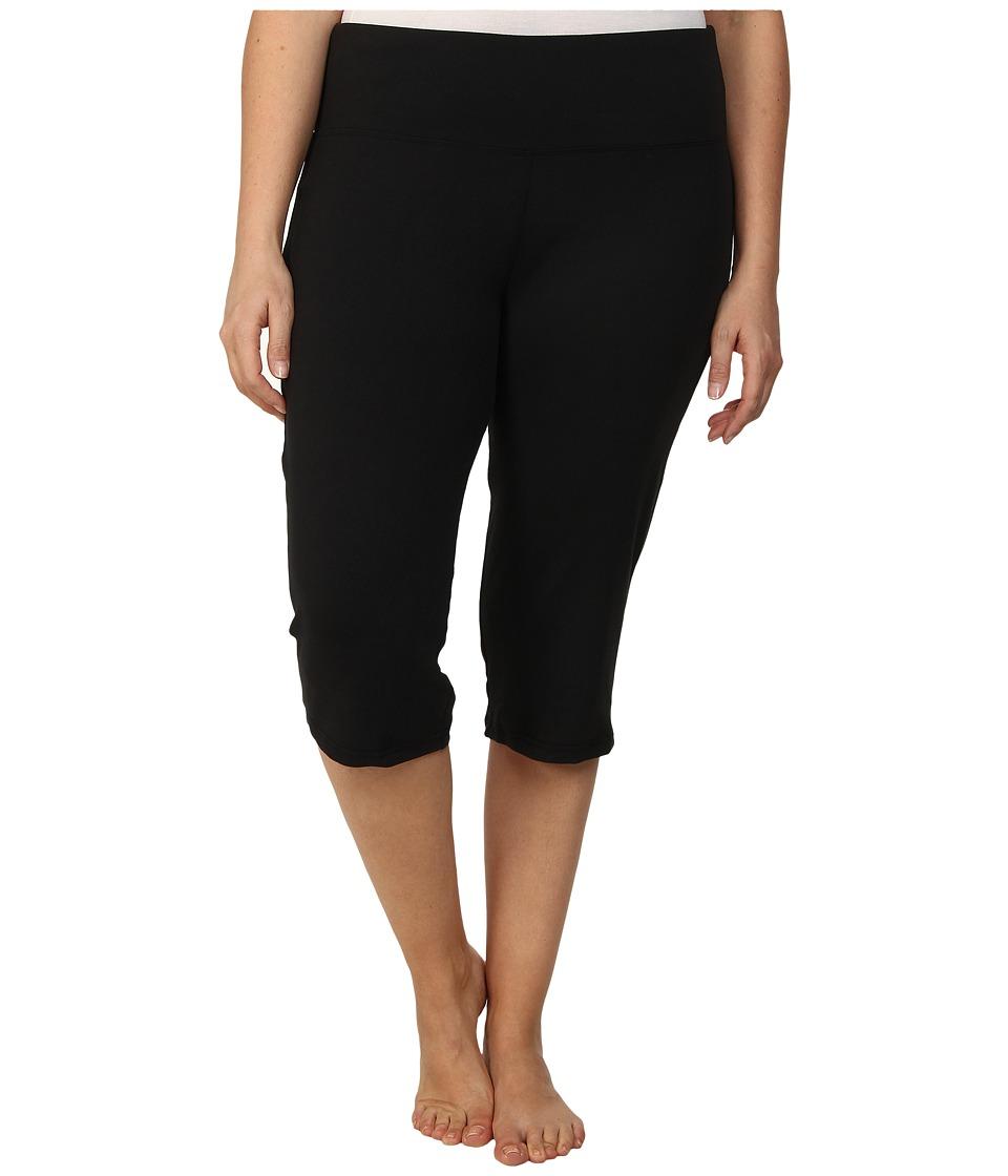 Marika Curves - Plus Size High Rise Tummy Control Capris (Black) Women's Workout