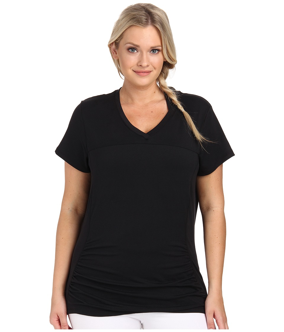 Marika Curves - Plus Size Elizabeth Slimming Tee (Black) Women's Workout
