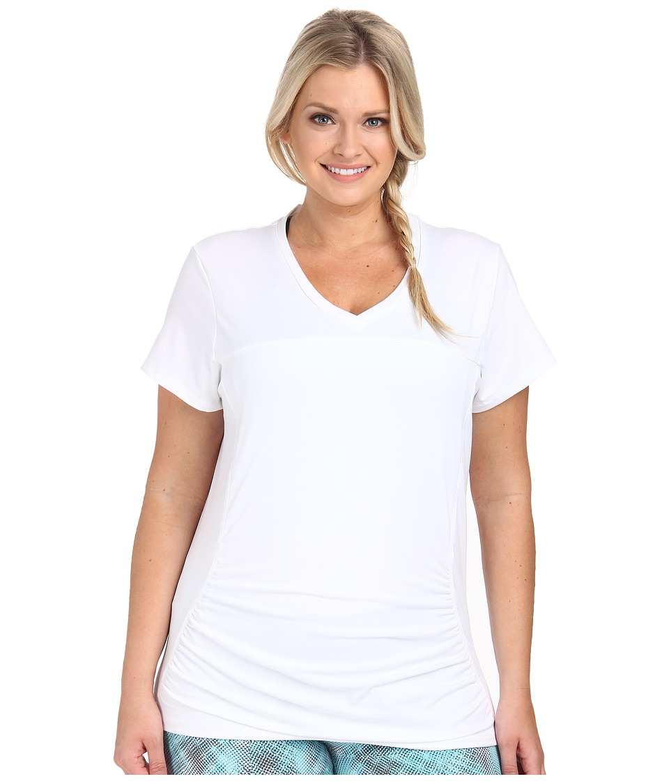 Marika Curves - Plus Size Elizabeth Slimming Tee (White) Women's Workout
