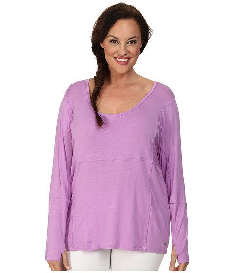 Marika Curves - Plus Size Sophia Keyhole Long Sleeve (African Violet) Women's Workout