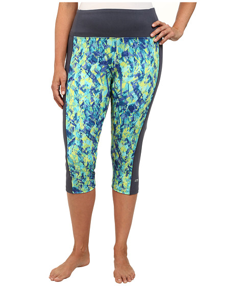 Marika Curves - Plus Size Framed Tummy Control Capri Leggings (Ombre Blue/Cube Traveller Limeade) Women