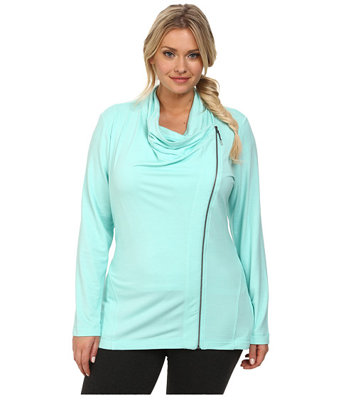 Marika Curves - Plus Size Kate Asymmetrical Jacket (Heather Aruba Blue) Women