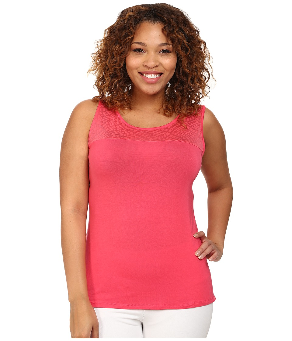 Marika Curves - Plus Size Alex Illusion Tank Top (Rouge Red) Women's Workout
