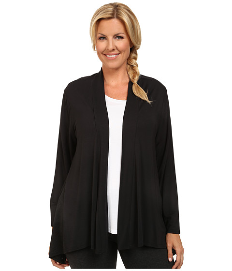 Marika Curves - Plus Size Camille Sharkbite Cardigan (Black) Women's Workout