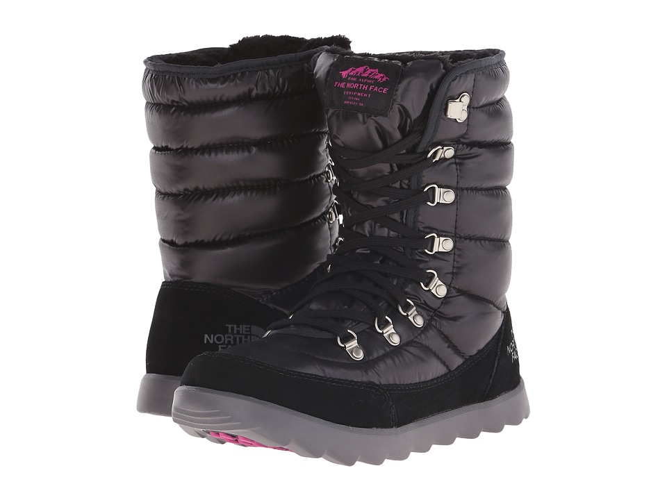 The North Face - ThermoBall Lace 8 (Shiny TNF Black/Luminous Pink) Women's Cold Weather Boots