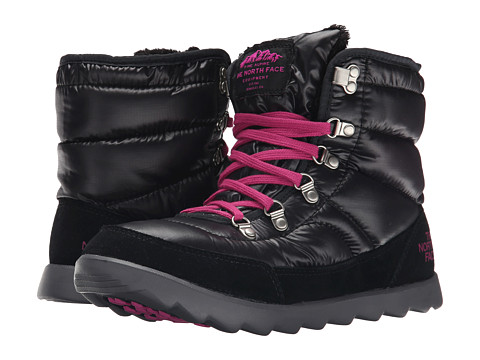 The North Face - ThermoBall Lace (Shiny TNF Black/Luminous Pink) Women's Cold Weather Boots