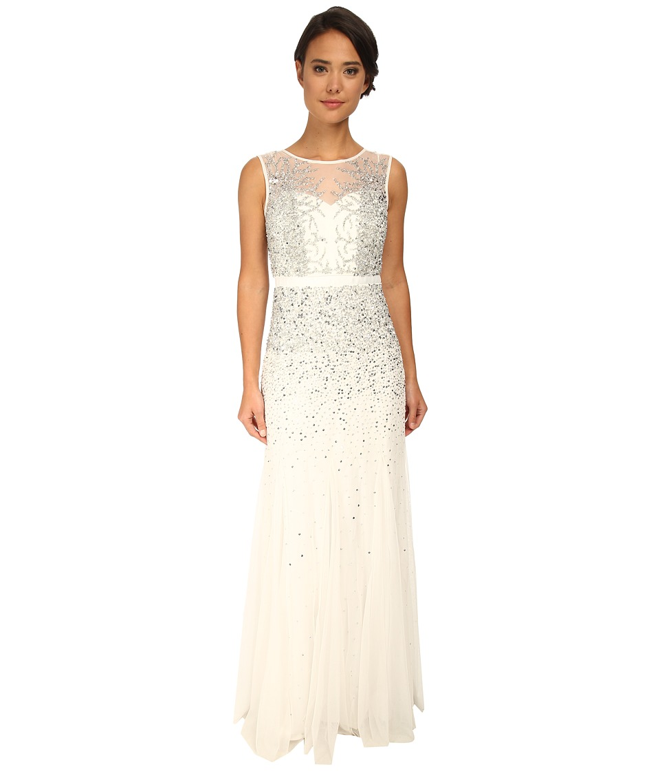 Adrianna Papell Beaded Illusion Gown (Prom) (Ivory/Silver) Women