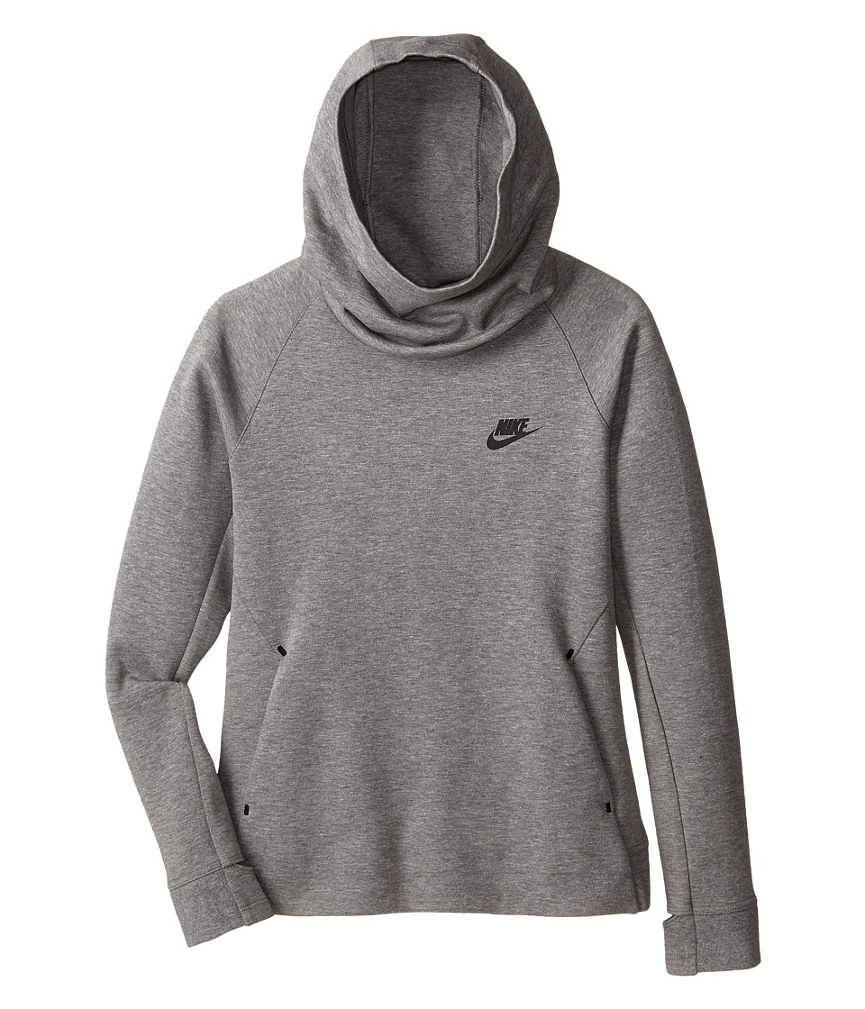Nike Kids - Tech Fleece OTH Hoodie (Little Kids/Big Kids) (Carbon Heather/Black) Girl's Sweatshirt