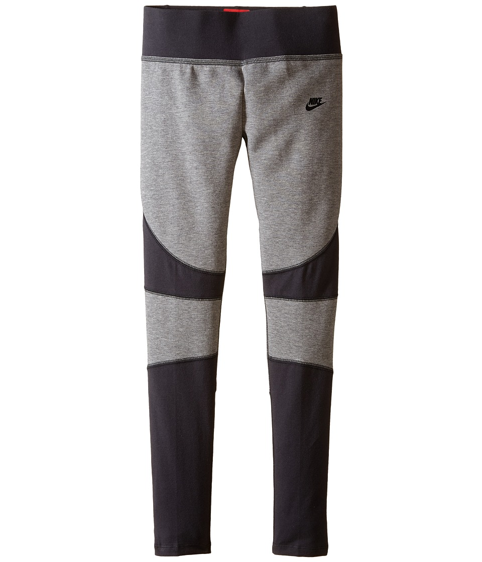Nike Kids - Tech Fleece Tights (Little Kids/Big Kids) (Carbon Heather/Anthracite/Black) Girl's Workout