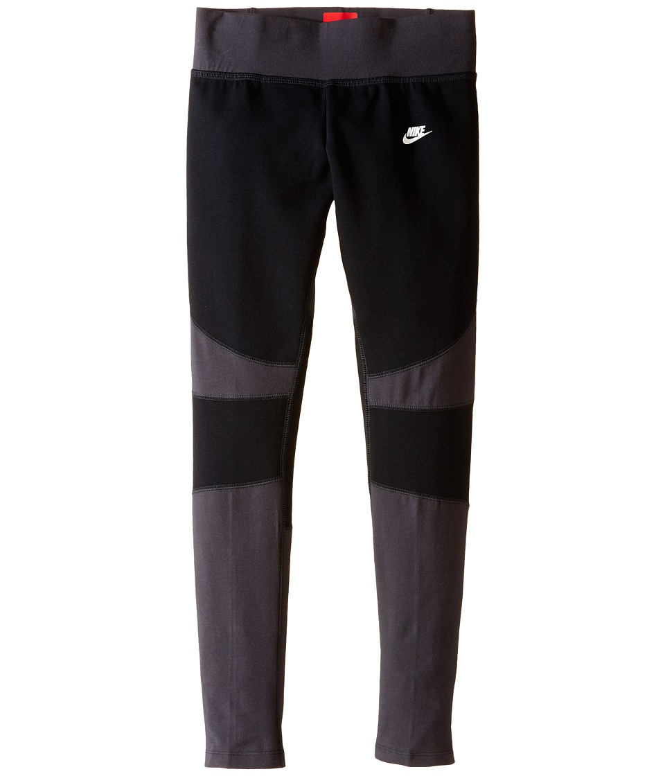 Nike Kids - Tech Fleece Tights (Little Kids/Big Kids) (Black/Anthracite/White) Girl's Workout