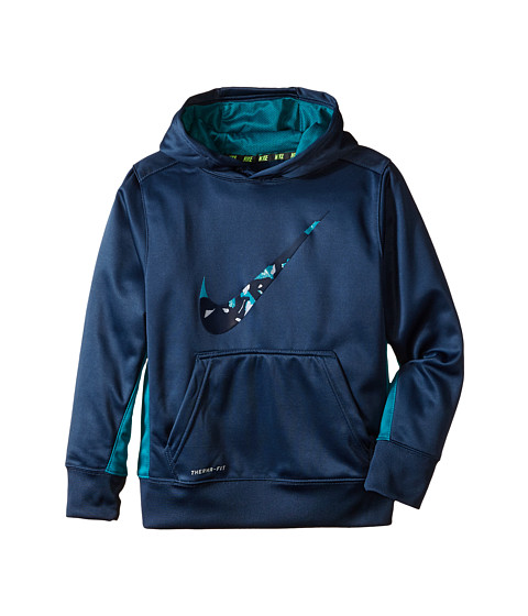 Nike Kids - KO 3.0 Swoosh Oth Hoodie (Little Kids/Big Kids) (Squadron Blue/Radiant Emerald) Boy